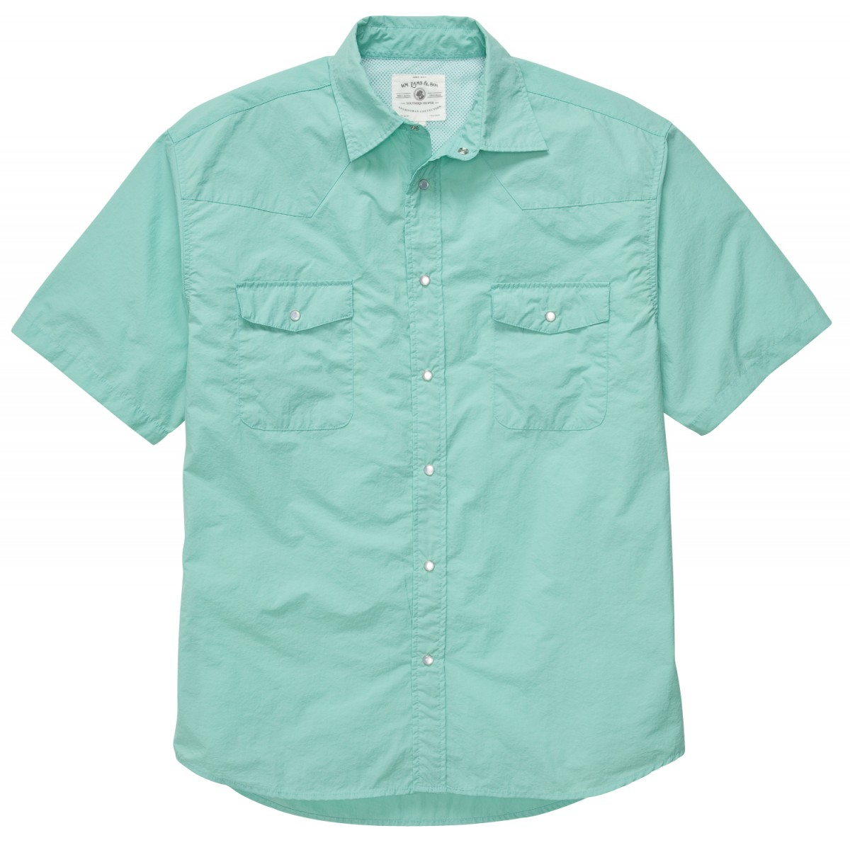 WLS Short Sleeve Fishing Shirt: Aqua